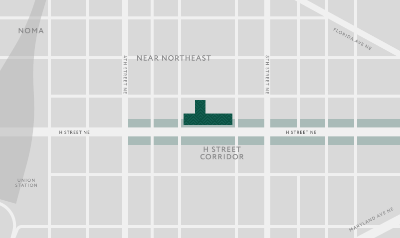 Static map illustration of The Apollo building footprint oriented on H Street corridor east of Union Station