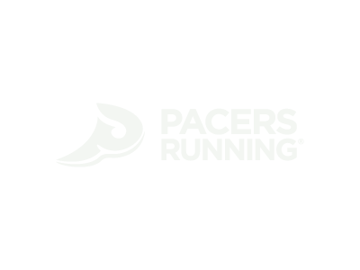 Pacers Running store logo on forest green background