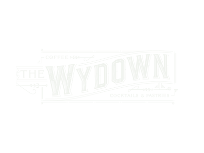 The Wydown café logo on forest green background